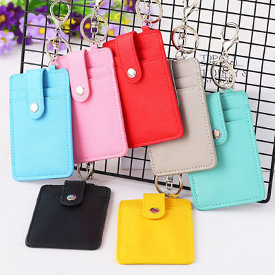PU Leather ID Card Case Holder Cover With Keychain Badge Key Ring 3 Layer Wallet