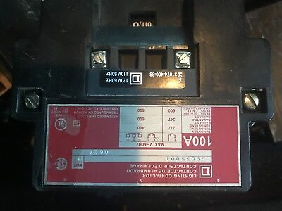 Square D Lighting contactor, 8903S001,100 amps, 240 VAC at 60 Hz; 220VAC at 50Hz