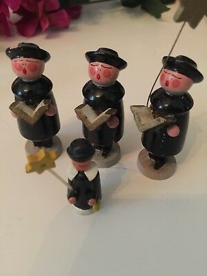 Vintage  Erzgebirge Christmas Choralers 4 Carved Wood Miniatures
