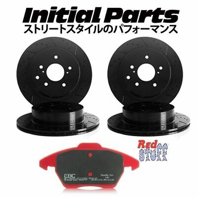 Front + Rear TOYOTA SUPRA MK3 MA70 JZA70 GROOVED BRAKE DISCS EBC RED STUFF PADS