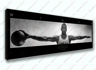 Michael Jordan Wings Black! Edition Panoramic Poster Canvas Print Decor Wall Art