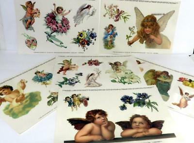 6 - Angel, Cherub Horizons Window Clings Created From Antique Chrome lithographs