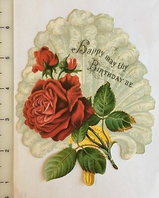 Vintage Red Roses Birthday Greeting Victorian Trade Postcard Printed In England