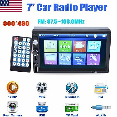 "7"" Car Stereo MP5 media Player Bluetooth 2DIN Auto Radio TF/FM Rear View Camera"