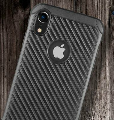 "for iPhone XR 6.1"" - Black Carbon Fiber Hybrid Rugged Hard Armor Shockproof Case"