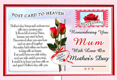Mother's Day  Postcard To Heaven Memorial Graveside Card & Free Holder