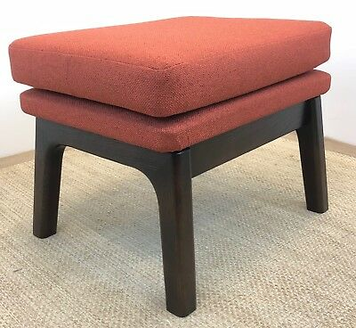 New Mid Century Modern Space Age Burnt Orange Tweed Ottoman Footrest Stool
