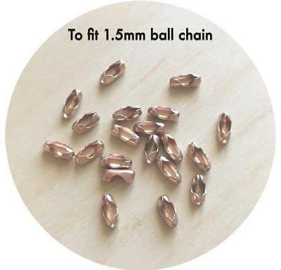 20x Rose Gold Stainless Steel End Connectors for 1.5mm Ball Chain DIY necklace