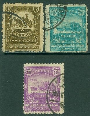 EDW1949SELL : MEXICO 1896-97 Scott #262, 265, 263a Very Fine, Used. Catalog $225