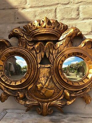 Stunning Italian/ Spanish double mirror with Eagle/coat of arms carved in wood