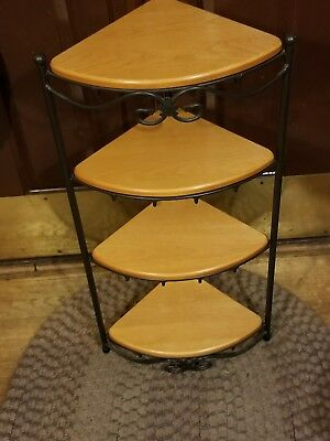 Swell Longaberger Large Foundry Wrought Iron Corner Shelf Stand With 4 Wooden Shelves Interior Design Ideas Jittwwsoteloinfo