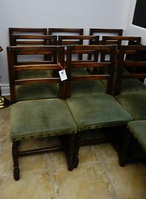 gorgeous Antique 19th Century French 10 generous side chairs oak DECO