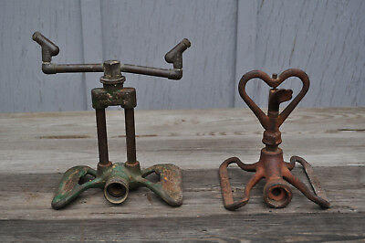 Lot of 2 Vintage Lawn Sprinklers Rain King Model D Lakeside Heart Primitive COOL