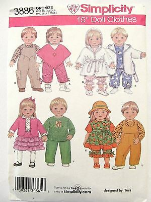 "Simplicity 3886 SEWING PATTERN_15"" BITTY BABY + BITTY TWINS Doll Clothes_UNCUT"