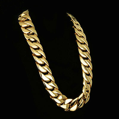31mm Mens Chain Gold Plated Curb Link 316L Stainless Steel Necklace 18-40''HEAVY