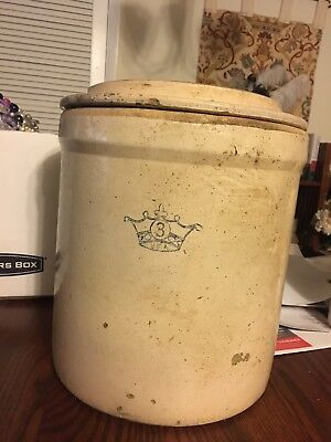 Vintage Blue Crown 3 Gallon Robinson Ransbottom Crock With Hard To Find Lid