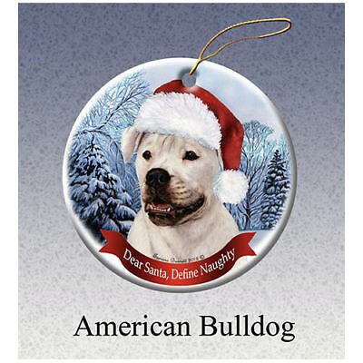 American Bulldog Howliday Porcelain China Dog Christmas Ornament