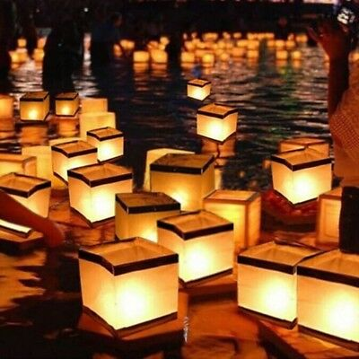 China River Lantern Square Paper Wishing Water Floating Candle Light Lamp Memory