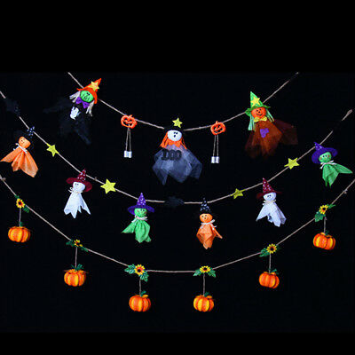 Cute Happy Halloween Hanging Ornament Witch Pumpkin Bell Banner Party Decor Delu
