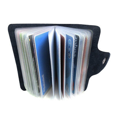 Genuine Soft Black Leather Credit Card Holder Pouch Purse Wallet RFID Blocking