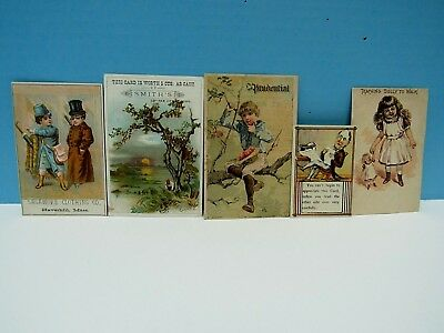 Vintage  Antique Victorian Advertising Trade Cards - Lot Of Five - Vg Condition