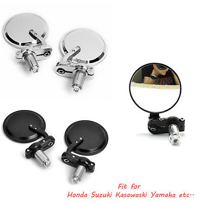 """Motorcycle Handlebar Round Rearview Side Mirrors 7/8"""" Bar End Mirrors Cafe Racer"""