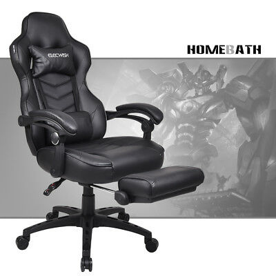 Black Video Gaming Chair w/ Footrest Computer Racing Style PU Leather High Back