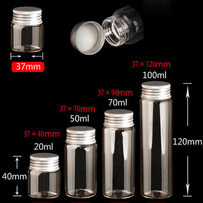 5PCS Small Clear Candy Glass Bottle Seal Bottle Vials Jars with Cap 5-100 ML