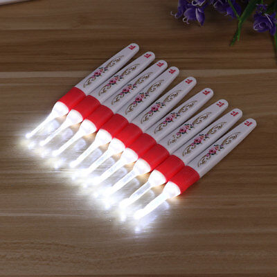 8/9Pcs LED Crochet Hook Set Light Up Knitting Needles Weave Sewing Tool Crafts