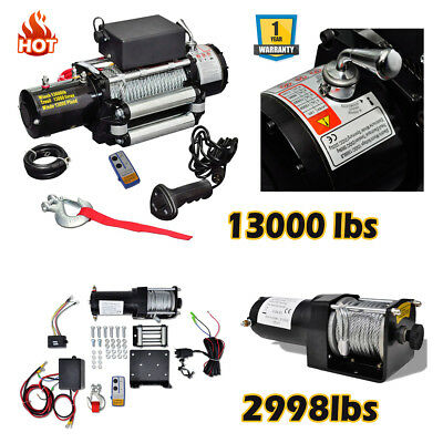 2998/13000LBS Heavy Duty Electric Recovery Winch Kits 12V Remote Control Trailer
