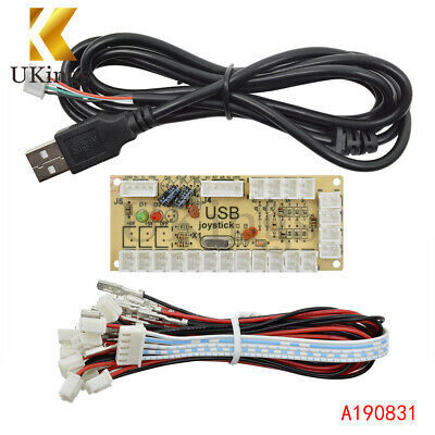 Zero Delay LED Arcade MAME Encoder USB To PC 5Pin Joystick PCB Board + Cables