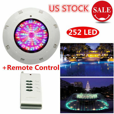 18W RGB Underwater Swimming Pool Light 252 LEDs Lamp 12V + Remote Control IP68
