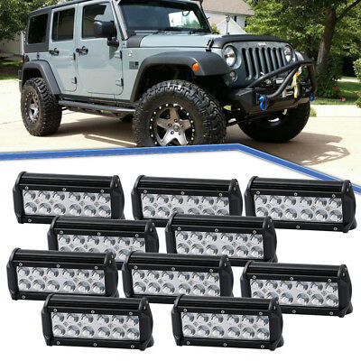 10X 7inch 36W LED Work Light Spot Driving Head Light offroad Light Bar Jeep Boat