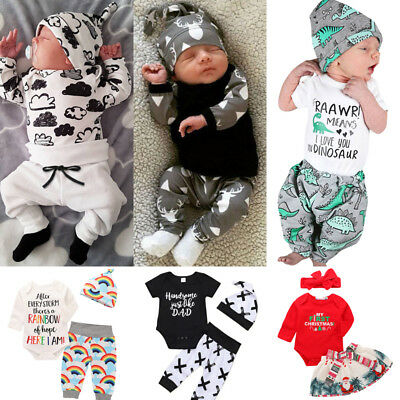 Lovely Newborn Baby Boys Girls Tops Romper Jumpsuit Long Pants Outfits Clothes