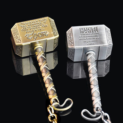 Marvel The Avengers Thor Thor's Hammer Mjolnir Pewter Metal Keyring Key Chain Fi