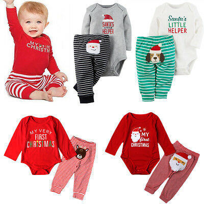 My First Christmas Baby Boys Girls Romper Bodysuit + Pants Clothes Set for 0-24M