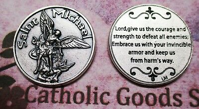 Saint St. Michael - Lord, Give us the Courage.. - Silver tone  Pocket Token-Coin