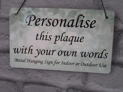 Personalised Plaque Metal Custom Sign Indoor or Outdoor with YOUR Words Text