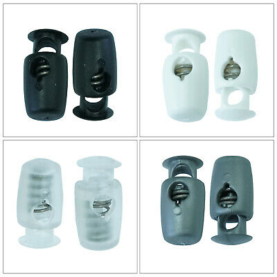Plastic Cord Locks Ends Spring Stop Toggle Stoppers Drawstrings Rope Shoelaces