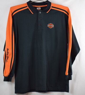 Harley Davidson-Black/Orange Mens LG Long Sleeve Shirt  EUC