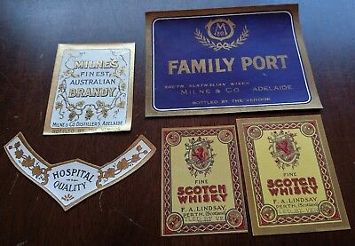 Vintage scotch whiskey Port Brandy labels , Milne & Co Adelaide , F A Lindsay