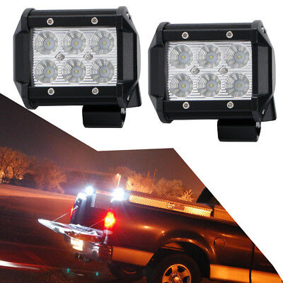 2pcs 4 inch 18W Flood LED Work Light Reverse Lights for Chevy Dodge Ram Boat UTE