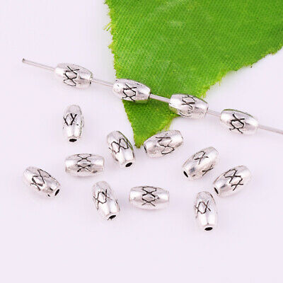 20//50//100Pcs Antique Tibetan Silver Flower Oval Spacer Beads  2mm Hole CA3022