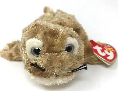 """Ty Beanie Babies Plush Fins the Seal 8"""" Brown Stuffed Animal Toy Retired 2003"""