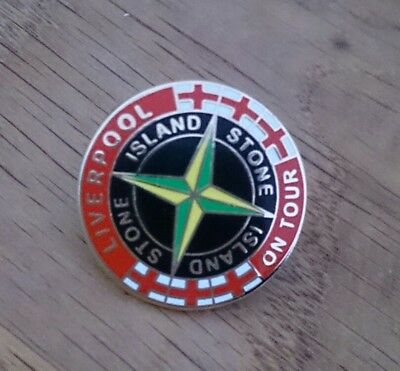 Liverpool on tour  Stone Island novelty. Enamel Pin Badge NEW 80s Casuals