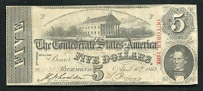 T-60 1863 $5 Five Dollars Csa Confederate States Of America Currency Note Xf