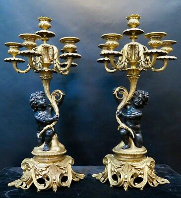 Vintage Pair Antique Bronze Louis XV Candelabra