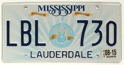"""Mississippi """"Gibson Electric Guitar"""" License Plate LBL 730, Lauderdale County"""