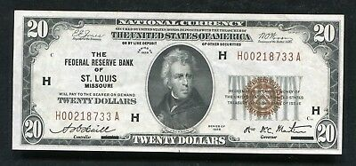 Fr. 1870-H 1929 $20 Frbn Federal Reserve Bank Note St. Louis, Mo About Unc (B)