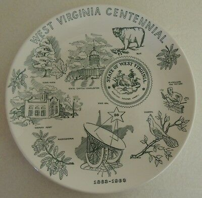 "Vintage WEST VIRGINIA Centennial 1863-1963 Collector Plate 10"" Homer Laughlin"